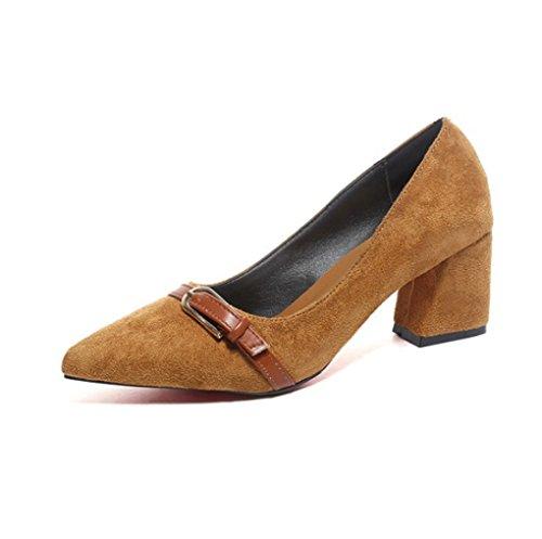 Zapatos y Tacón Primavera Talón Coreana Otoño Tacón Versión LBDX Amarillo Gruesa Mujer Alto Zapatos Medio de de Colorblock Acentuado wZqSnxIEpX
