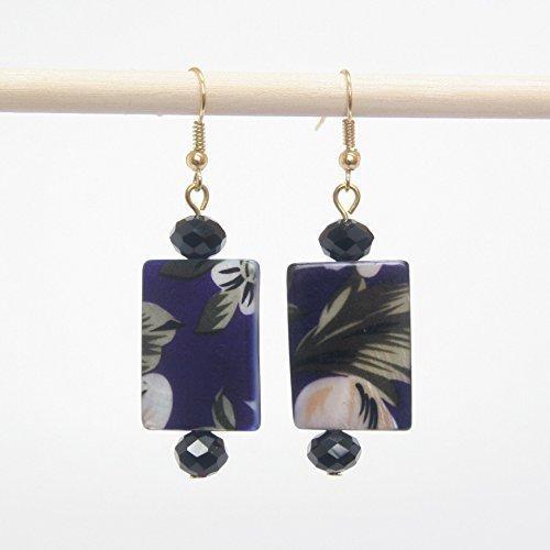 Bead Shell Rectangle (Shell Earring - Dark Purple Flowery Rectangular Shell, Black Glass Bead, 1.75-in)