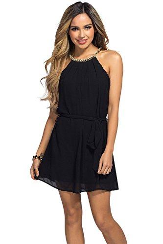 Buy belted chiffon shift dress - 4