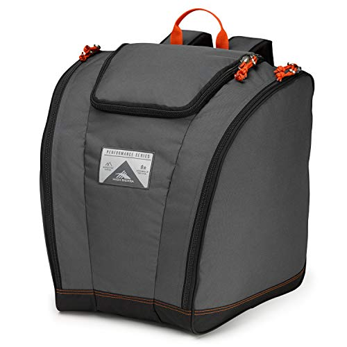 High Sierra Trapezoid Ski Boot Bag Backpack with Compression Straps and Zippered Compartments for Ski and Travel Gear Mercury/Black/Red Line