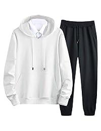 Macondoo-CA Men's 2 Piece Sweatshirt Pants Outfits Hooded Sportwear Tracksuit Set