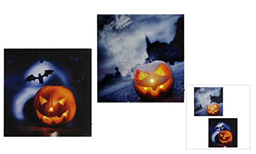 LED Halloween lighted stretched canvas sign set of 2.]()