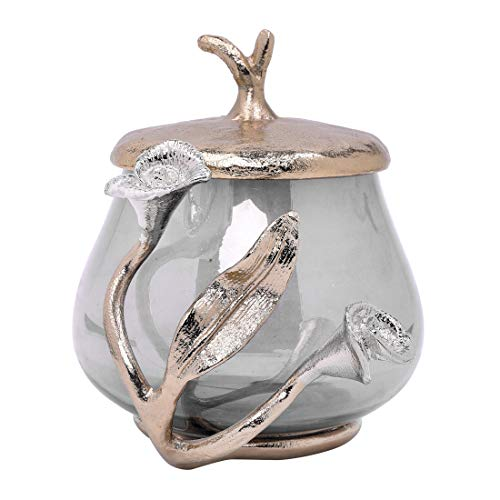 Decozen The Calla Lily Glass Cotton Jar in Black Luster Finish Gold Finished Aluminum Calla Lily Branch Decoration Decorative Jar with Lid for Bathroom Kitchen Bedroom