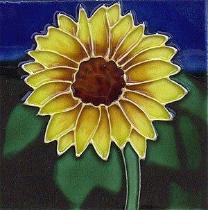 (Sunflower Flower Ceramic Wall Art Tile 8x8)