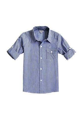 Bienzoe Little Boy 's Cotton Plaid Roll Up Sleeve Button Down Sports Shirts, Darkblue, 5/6 ()