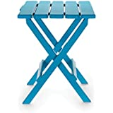 Camco 21036 Aqua Large Adirondack Portable Outdoor Folding Side Table, Perfect for The Beach, Camping, Picnics, Cookouts and More, Weatherproof and Rust Resistant