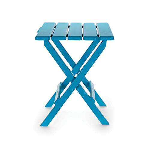 Camco 51690 Aqua Large Adirondack Portable Outdoor Folding Side Table, Perfect for The Beach, Camping, Picnics, Cookouts and More, Weatherproof and Rust Resistant