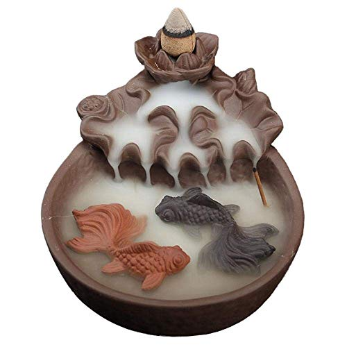 Resin Ornament Sunken Temple - Incense burner Ceramic Incense Burner Creative Fish Waterfall Reflux Aroma Burner Home Indoor High-end Natural Cone Fragrance Decorative Ornaments Household aromatherapy stove, multi-functional dec