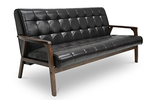 Brown Faux-Leather and Wood Sofa