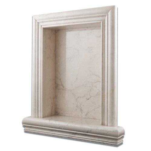 Antique White Pearl Marble Hand-Made Polished Shampoo Niche / Shelf - LARGE