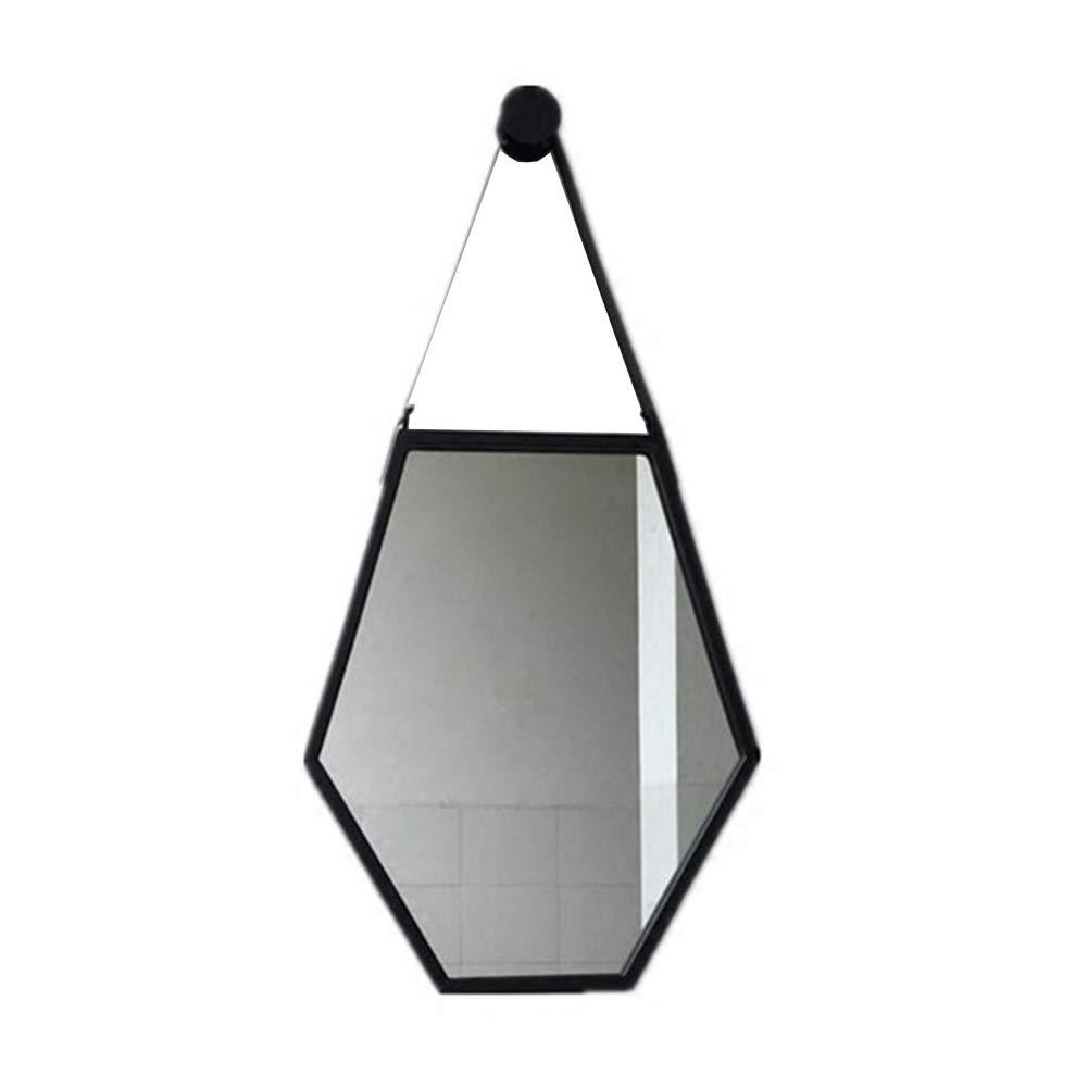 Badezimmerspiegel Sechseck-an der Wand befestigtes Bad Spiegel-Metallic umrahmt große Schminkspiegel Rasierspiegel Vergrößerungsspiegel Dusche Make-up Spiegel-Schlafzimmer Wohnzimmer Flur50 × 65 cm