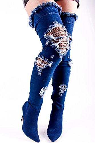 Lolli Couture Giovani Ad Alta Definizione Pizzo Floreale Design Cerniera Posteriore Peep Toe Anteriore Pizzo Sopra La Piattaforma Del Ginocchio Stivali Tacco Alto Darkbluedenim-m33-9