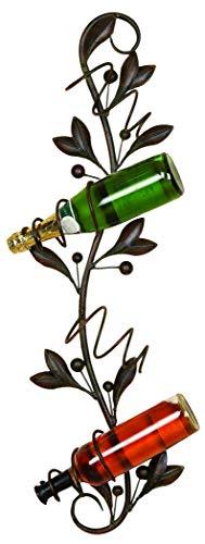 Benzara BM08050 Metal Leaf Style Wall Wine Holder, Bronze