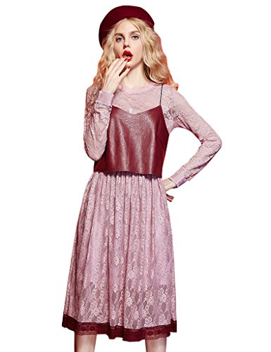 [Elf Sack Womens Winter Waisted Lace Dress&Vest 2 Sets Pink X-Large] (Elf Outfit For Women)
