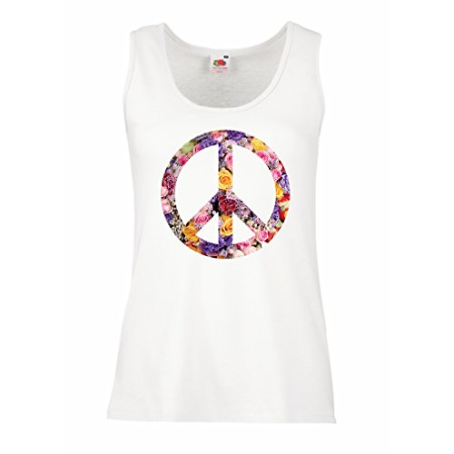 lepni.me Womens Tank Tops Peace Symbol, 1960s 1970s Hippy Hippie Festival, Peace Sign Flower Summer Hipster SWAG (X-Large White Multi (Peace Sign Womens Tank Top)