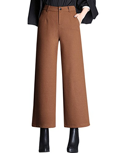 Pants Wool Leg Wide (Tanming Women's Thick Wool Blend Cropped Wide Leg Pant Trousers (Medium, Brown))