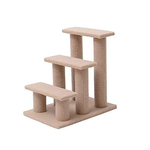 MISC Sand Scratching Post Carpet Cat Climber Pet Three Step Tree Scratcher Furniture Ladder Steps Stairway Contemporary Beige Brown, Fleece Wood ()