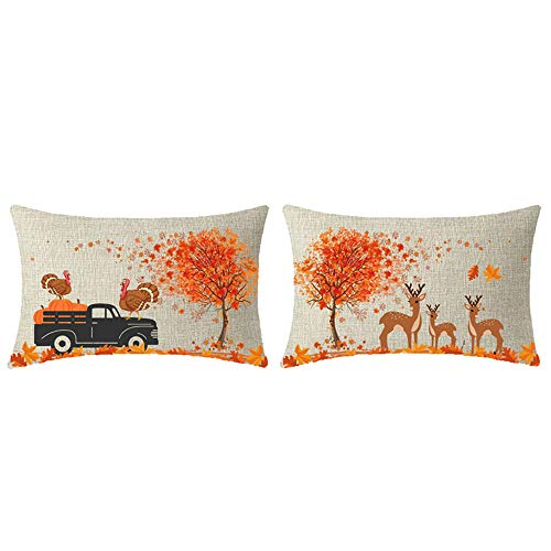 - NIDITW Set of 2 Happy Thanksgiving Fall Yall Farmhouse Deer Family Harvest Pumpkins Truck Turkey Big Maple Trees Throw Pillow Case Cushion Cover Sofa Decorative Rectangle 12x20 Inches