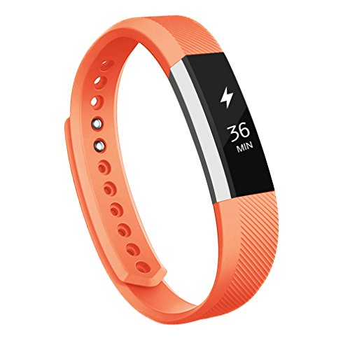 AK for Fitbit Alta Bands, Replacement Fitbit Bands for Fitbit Alta/Alta HR with Metal Clasp (Orange, Small) -
