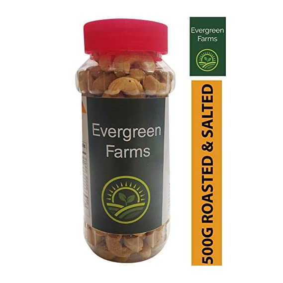 Evergreen Farms Fresh Whole Roasted and Salted Cashews Extra Crunchy Kaju in Pet Jar 250 Grams