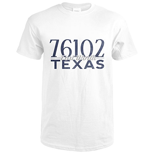 Fort Worth, Texas - 76102 Zip Code (Blue) (Premium White T-Shirt X-Large) (Fort Worth 76102)