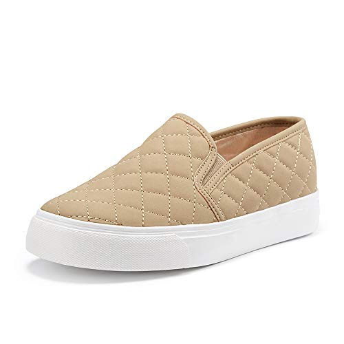 JENN ARDOR Womens Fashion Sneakers Classic Slip on Flats Comfortable Walking Sports Casual Shoes Taupe 9 US