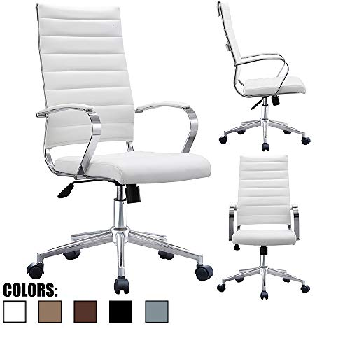 2xhome White Contemporary Mid Century Modern High Back Tall Ribbed PU Leather Swivel Tilt Adjustable Chair with Back Swivel Wheels Designer Boss Executive Office Conference Room Work Tasl Desk Chrome