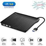 [Updated Version] Cocopa External CD DVD Drive USB 3.0 Portable CD DVD +/-RW Drive Slim DVD/CD ROM Rewriter Burner Writer, High Speed Data Transfer for Laptop/Macbook/Desktop/MacOS/Windows10/8/7/XP/V