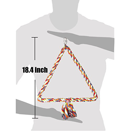 KINTOR Medium Triangle Rope Swing Bird TOY Parrot Cage Toys Cages Conure African Grey by KINTOR (Image #3)