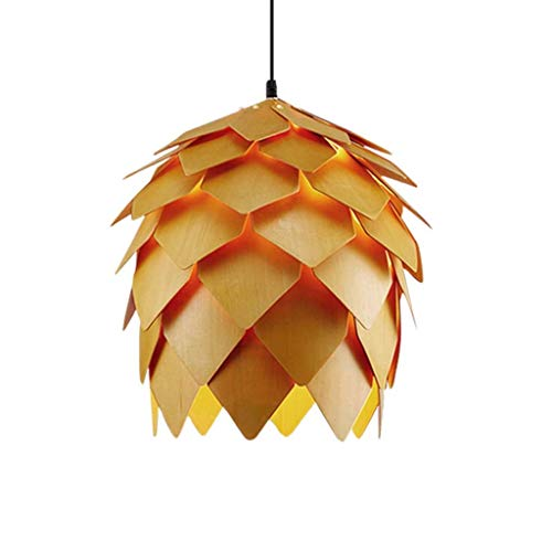 ZHAO ZHANQINAG Modern Creative Chandelier Nordic Simple Wood Pine Cone lamp Bedroom Study Living Room Dining Room bar Wood lamp, Diameter 40 cm (Color : Wood) 5 Light Pinecone Chandelier