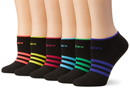 adidas Womens Superlite No Show Socks (6-Pack), Black/Bold Pink/Flash Red-Pink Pink/Bright Yellow/Bright Cyan/Flash Lime/Night Flash Purple, Womens Sock size (5-10)