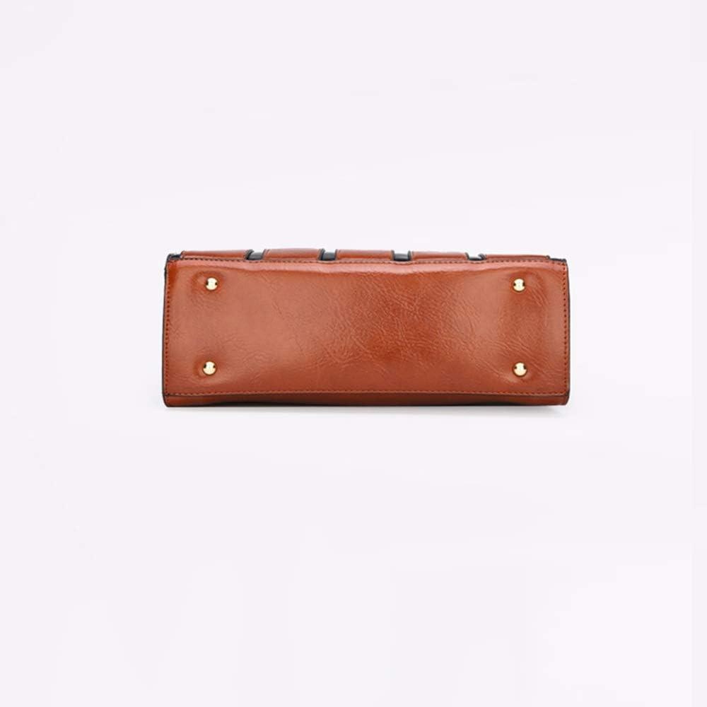 Large Capacity Ladies Shoulder Bag Fengkuo Handbag Shining Ladies Fashion Backpack Dark Brown Polyester Wear-Resistant Square PU Bag 28cm 22cm 11cm