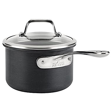 Durable, Stainless Steel, Hard Anodized Nonstick 2-Quart Saucepan with Lid