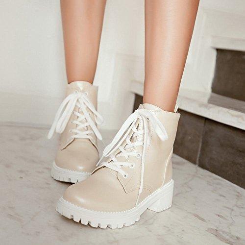 Mee Shoes Damen chunky heels runde Plateau mit Schnürsenkel Ankle Boots Beige