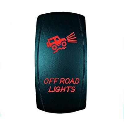 STV Motorsports 5 Pin Laser Rocker Switch OFF ROAD LIGHTS On/Off LED Light 12V 20A – Blue