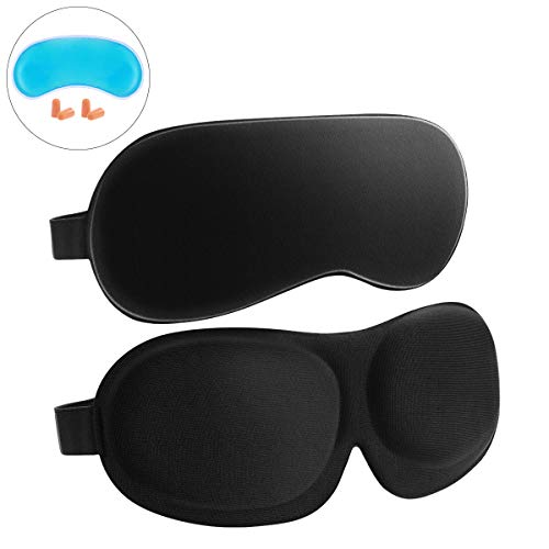 Frcolor Sleep Mask 2 Pack, 3D Contoured Eyemask Silk Eye Mask for Sleeping Adjustable Soft Eye Cover Night Blindfold Eyeshade for Men Women Kids, Reusable Ice Pack and EarPlugs Included for $<!--$9.99-->