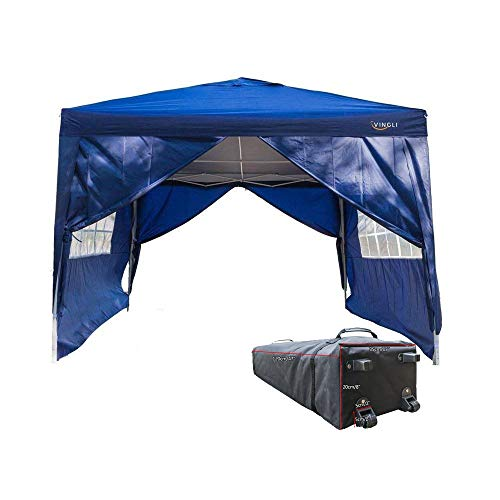 Foldable Gazebo (VINGLI 10' x 10' Ez Pop Up Canopy Tent with 4 Removable Sidewalls Panels,Folding Instant Wedding Party Outdoor Commercial Event Gazebo Pavilion W/Carrying Bag,Blue)