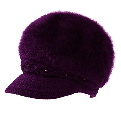 Women Wool Angora Beret Hat Plush Pearl Knit Crochet Visor Cap Girl's Newsboy Cap Purple
