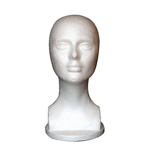 Heads Mannequin Styrofoam (Female Foam Mannequin Manikin Head Model Shop Hat Wig Hair Jewelry Glasses Display Stand)