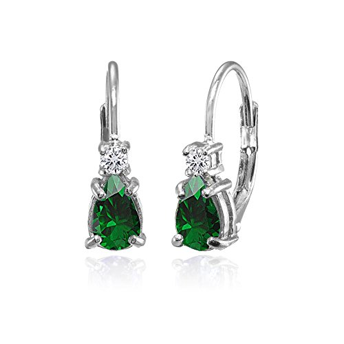 Sterling Silver Simulated Emerald and White Topaz Tiny Teardrop Huggie Leverback Earrings for Girls Kids