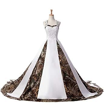 80d6de81562 Sunvary Stylish Camo Wedding Dress Ball Gown Sweetheart Prom Ball Dresses  Size 2- White