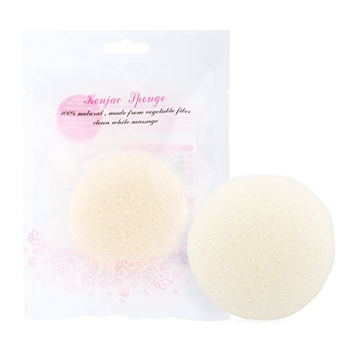 Luxspire Konjac Facial Sponge, Konnyaku Natural Activated Organic Fiber Skincare Face Wash Cleanse Sponge Puff Exfoliator Tools ()