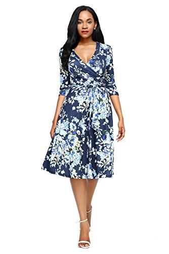 3/4 length sleeve dresses plus size - 6