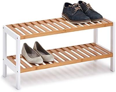 Zeller Shoe Rack With 2 Shelves, Bamboo/Mdf, White, 70 x 26 x 33