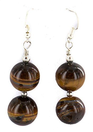 (.925 Sterling Silver Hooks Certified Authentic Navajo Natural Tigers Eye Native American Dangle Earrings)
