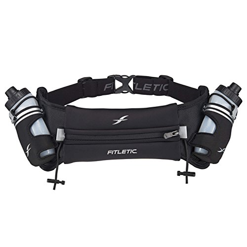 Water Bottle Belt by Fitletic | Zero Bounce | Black, Large / Extra Large | Hydra 12 V2