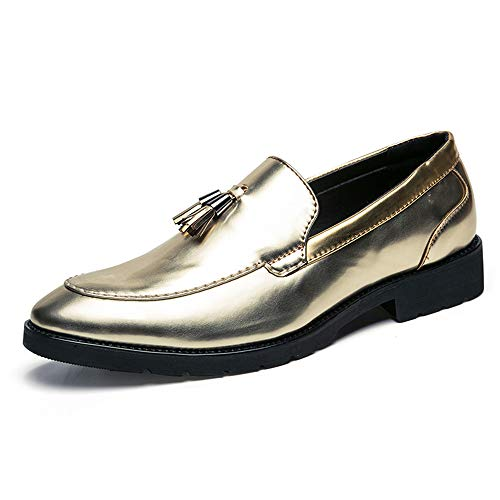 2018 Scarpe Stringate Basse Scarpe con nappe da uomo Mocassini Slip-On Classic Penny Loafer Oxford Shoes (Color : Gold, Dimensione : 38 EU) Gold