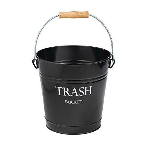 mDesign Cubo de metal estilo vintage – Muy decorativo e idóneo como cubo de basura para cocina, papelera de baño o contenedor de reciclaje en la oficina – 12,5 Litros – Negro 5 Litros - Negro MetroDecor