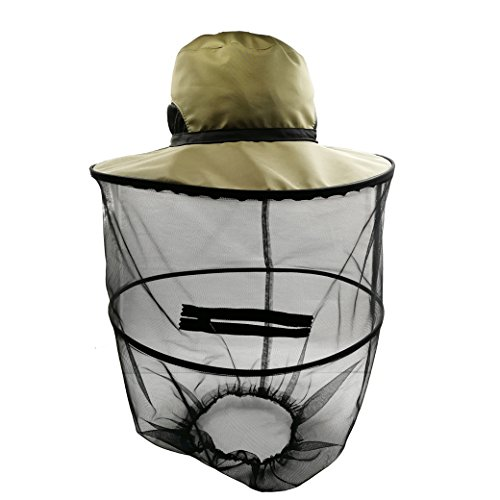 Lujuny Anti Mosquito Head Net Hat - Bucket Cap with Bag for Beekeeper Fishing Gardening Mowing (OLIVE GREEN)
