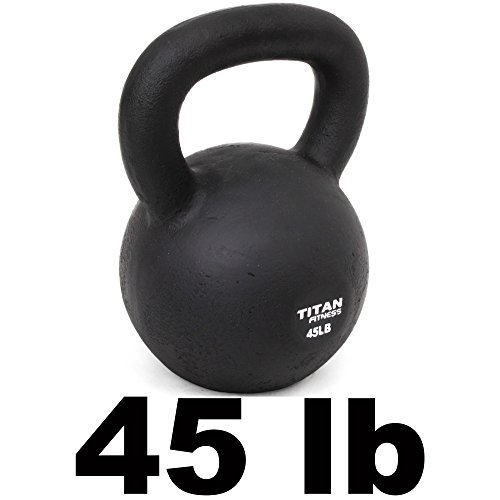 Cast Iron Kettlebell Weight 45 Lbs Natural Solid Titan Fitness Workout Swing